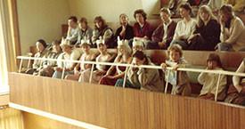 Á borgarstjórnarpöllum. Helga, María Jóhanna, Sigurbjörg, Kristín Einars, Gerla, Guðný Gerður, Örvar, Arna Björk