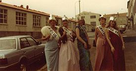 Fegurðardrottningarnar María Jóhanna Lárusdóttir, Kristín Einarsdóttir, Guðný Gerður Gunnarsdóttir, Sigurbjörg Aðalsteinsdóttir og Gerla