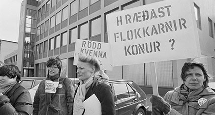 1983 Þögul mótmæli. Guðný Guðbjörnsdóttir, Sigríður Dúna Kristmundsdóttir og Sigrún Halldórsdóttir