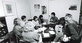 Fundað á Víkinni 1985. Þórhildur Þorleifsdóttir, Guðný Guðbjörnsdóttir og Kristín Halldórsdóttir