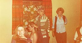 1982 Slakað á í Ölfusborgum. Hallgerður Gísladóttir, Ingibjörg Hafstað, Guðrún Jónsdóttir og María Jóhanna Lárusdóttir