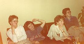 1982 Ölfusborgir. Óþekkt, óþekkt, Valgerður Bjarnadóttir og Hólmfríður (Día) Árnadóttir