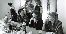 Fyrsti blaðamannafundur Kvennalista 29. mars 1983. Guðrún Guðmundsdóttir, Kristín Jónsdóttir, Margrét Rún Guðmundsdóttir, Sigríður Dúna Kristmundsdóttir, Sigríður Þorvaldsdóttir og Helga Thorberg