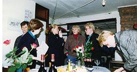 Konur kveðja Víkina. Kristín Ástgeirsdóttir, Helga Sigurjónsdóttir, Ingibjörg Sólrún Gísladóttir, Elín G. Ólafsdóttir og Stella Hauksdóttir