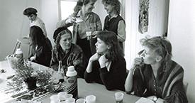 Guðrún Guðmundsdóttir, Kristín Jónsdóttir, Margrét Rún, Sigríður Dúna Kristmundsdóttir, Sigríður Þorvaldsdóttir og Helga Thorberg á fyrsta blaðamannafundi Kvennalistans 29. mars 1983