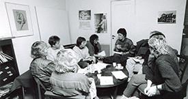 Fundað á Víkinni 1983. Þórhildur Þorleifsdóttir, Sigrún Helgadóttir, Guðný Guðbjörnsdóttir og Kristín Halldórsdóttir