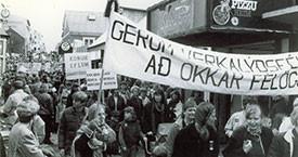 Mótmælli Samtaka kvenna á vinnumarkaði 1984