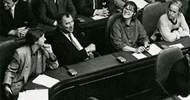 Kristín Ástgeirsdóttir, Halldór Ásgrímsson, Kristín Einarsdóttir og Ingibjörg Sólrún Gísladóttir á Alþingi 1991