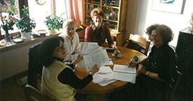 Uppstillinganefndin í Reykjavík 1995. Ragnheiður Sigurjónsdóttir, Drífa Kristjánsdóttir, Guðrún Agnarsdóttir og Kristín Jónsdóttir