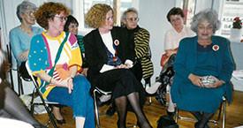 20. júní 1990. Magdalena Schram, Kristín Jónsdóttir, Elín, Danfríður og Betty Frieden